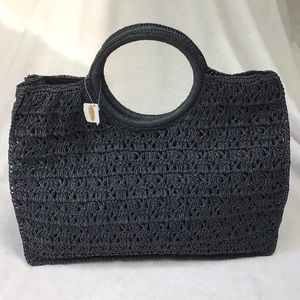 Dark Charcoal Woven Tote Talbots NEW